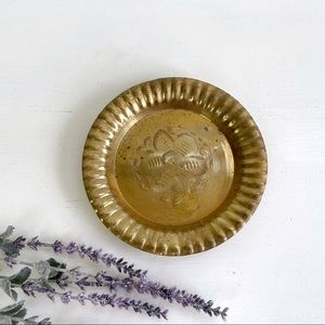 Vintage Small Round Etched Brass Tray